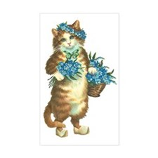 Cat with Basket of Blue Flower Decal