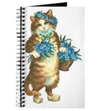Cat with Basket of Blue Flowers Journal