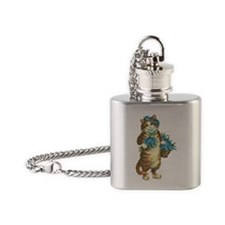 Cat with Basket of Blue Flowers Flask Necklace