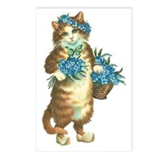 Cat with Basket of Blue F Postcards (Package of 8)