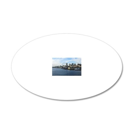 Seattle Coastline 20x12 Oval Wall Decal