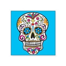 Sugar Skull Halloween Blue Sticker