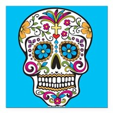 "Sugar Skull Halloween Blue Square Car Magnet 3"" x"