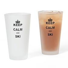 KEEP CALM AND SKI Drinking Glass