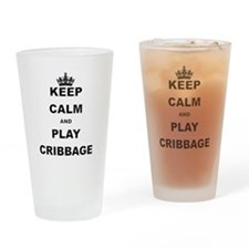KEEP CALM AND PLAY CRIBBAGE Drinking Glass