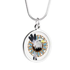 Eagle Dreamcatcher Silver Round Necklace