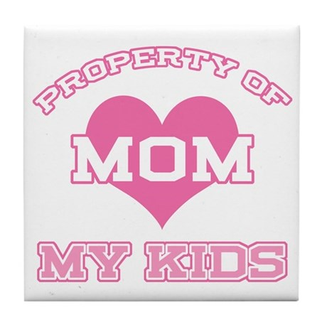 Property My Kids Pink Tile Coaster