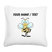 Custom Cartoon Bee Square Canvas Pillow