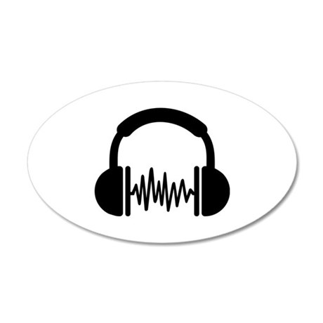 Headphones Frequency DJ 35x21 Oval Wall Decal