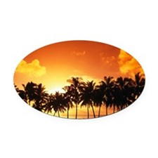 Sunset Oval Car Magnet