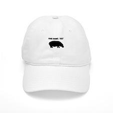 Custom Black Hippo Silhouette Baseball Cap