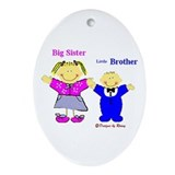 Big Sister and Little Brother Oval Ornament