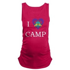 I heart camp - white lettering Maternity Tank Top