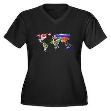 World flag map Plus Size T-Shirt