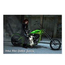 """Urban Biker Goddess: Jasmine"" Postcards 8-Pk."