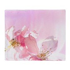 Pink Sakura Flower Throw Blanket