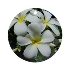 Yellow Center Plumeria Ornament (Round)
