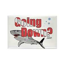 Going Down Shark Scuba Diving Rectangle Magnet (10