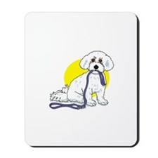 Bichon with Leash Mousepad M50