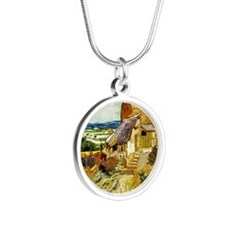 Van Gogh: The Old Mill Silver Round Necklace