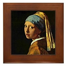The Girl with a Pearl Earring, paintin Framed Tile
