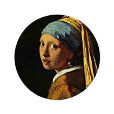 "The Girl with a Pearl Earring, paintin 3.5"" Button"