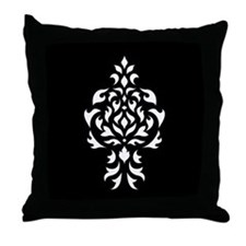 Damask White on a Black Square Throw Pillow