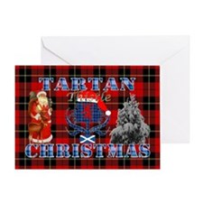 Red Tartan blue thistle Christmas design Greeting