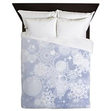 Snowflake Winter Blue Queen Duvet