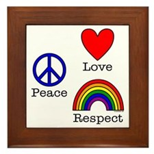 Peace, Love, Respect Framed Tile
