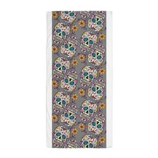 Sugar Skull Grey Beach Towel