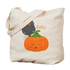 Kitty and Pumpkin Personalized Tote Bag