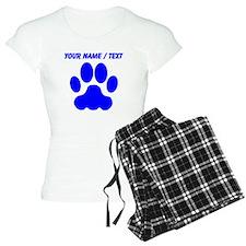 Custom Blue Big Cat Paw Print pajamas
