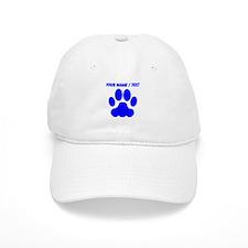 Custom Blue Big Cat Paw Print Baseball Cap
