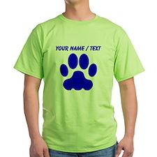 Custom Blue Big Cat Paw Print T-Shirt