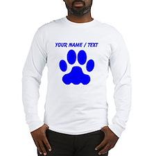 Custom Blue Big Cat Paw Print Long Sleeve T-Shirt