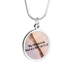 Flute Sounds/Scripture Silver Round Necklace