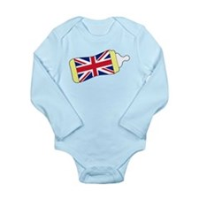 Union Jack Baby Bottle Long Sleeve Infant Bodysuit