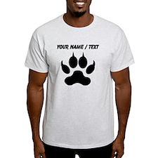 Custom Black Wolf Paw Print T-Shirt