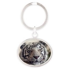 White Tiger Oval Keychain