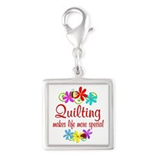 Quilting is Special Silver Square Charm
