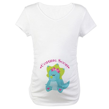 Dinosaur Baby Girl Coming Soon Maternity T-Shirt
