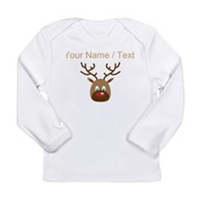 Custom Cute Red Nose Reindeer Long Sleeve T-Shirt