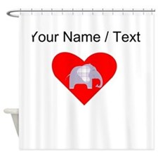 Custom Purple Plaid Elephant Heart Shower Curtain