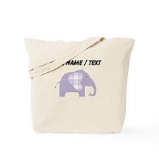Custom Purple Plaid Elephant Tote Bag