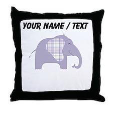 Custom Purple Plaid Elephant Throw Pillow