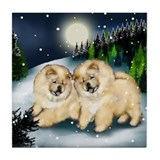 CREAM CHOW CHOW DOG SNOW Tile Coaster