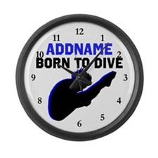 BORN TO DIVE Large Wall Clock