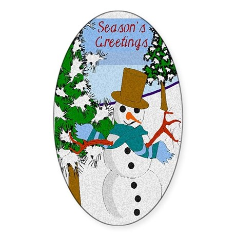 Season's Greetings Oval Sticker
