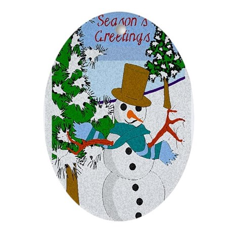 Season's Greetings Oval Ornament